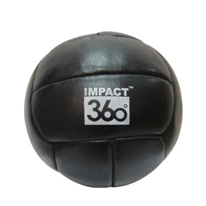 LEATHER MEDICINE BALL 12 PANEL BLACK