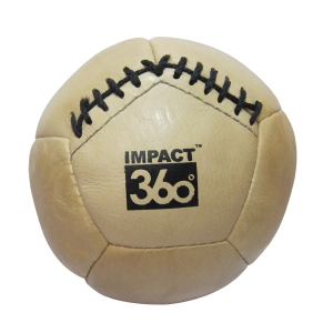 LEATHER MEDICINE BALL 12 PANEL NATURAL